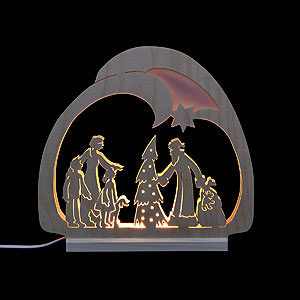 Candle Arches Fret Saw Work Candle arch - LED- Santa - 30x28,5x4,5cm / 12x11x2 inch