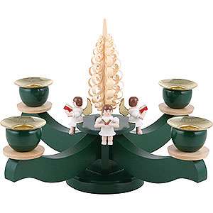 World of Light Candle Holder Angels Candle holder advent four sitting angels with wood chip tree - 22x19cm / 8.7x7.5inch