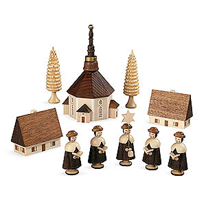 Small Figures & Ornaments Carolers Carolers church of Seiffener - 12 cm / 5 inch