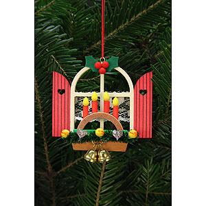 Christbaumschmuck Weihnachten Christbaumschmuck Adventsfenster mit Schwibbogen - 7,6x7,0cm