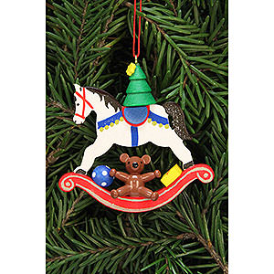 Christbaumschmuck Spielzeug-Design Christbaumschmuck Baum auf Schaukelpferd - 6,8x6,5 cm