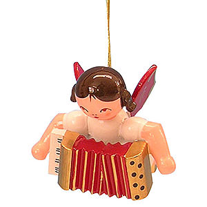 Christbaumschmuck Engel Baumbehang Schwebeengel - rote Flügel Christbaumschmuck Engel mit Akkordeon - Rote Flügel - schwebend - 5,5 cm
