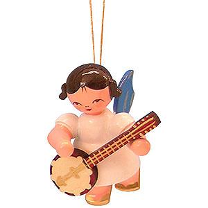 Christbaumschmuck Engel Baumbehang Schwebeengel - blaue Flügel Christbaumschmuck Engel mit Banjo - Blaue Flügel - schwebend - 5,5cm