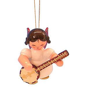 Christbaumschmuck Engel Baumbehang Schwebeengel - rote Flügel Christbaumschmuck Engel mit Banjo - Rote Flügel - schwebend - 5,5cm