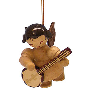 Christbaumschmuck Engel Baumbehang Schwebeengel - natur Christbaumschmuck Engel mit Banjo - natur - schwebend - 5,5cm