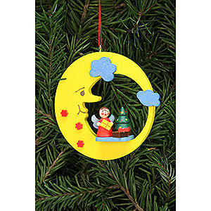 Christbaumschmuck Mond & Sterne Christbaumschmuck Engel mit Baum im Mond - 8,3x7,9cm
