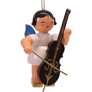 Weihnachtsengel Engel Baumbehang Schwebeengel - blaue Flügel Christbaumschmuck - Engel mit Cello - blaue Flügel - schwebend - 9,5cm