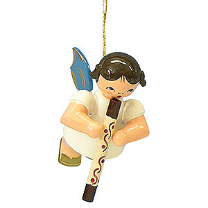 Christbaumschmuck Engel Baumbehang Schwebeengel - blaue Flügel Christbaumschmuck Engel mit Didgeridoo - Blaue Flügel - schwebend - 5,5 cm