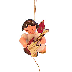 Christbaumschmuck Engel Baumbehang Schwebeengel - rote Flügel Christbaumschmuck Engel mit E-Gitarre - Rote Flügel - schwebend - 5,5cm