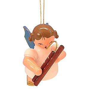 Christbaumschmuck Engel Baumbehang Schwebeengel - blaue Flügel Christbaumschmuck Engel mit Fagott - Blaue Flügel - schwebend - 5,5cm