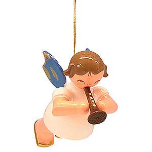 Weihnachtsengel Engel Baumbehang Schwebeengel - blaue Flügel Christbaumschmuck Engel mit Flöte - Blaue Flügel - schwebend - 5,5cm