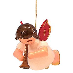 Weihnachtsengel Engel Baumbehang Schwebeengel - rote Flügel Christbaumschmuck Engel mit Flöte - Rote Flügel - schwebend - 5,5cm