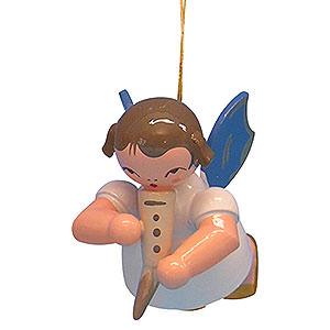 Christbaumschmuck Engel Baumbehang Schwebeengel - blaue Flügel Christbaumschmuck Engel mit Gemshorn - Blaue Flügel - schwebend - 5,5 cm