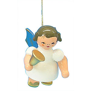 Christbaumschmuck Engel Baumbehang Schwebeengel - blaue Flügel Christbaumschmuck Engel mit Glocke - Blaue Flügel - schwebend - 6cm
