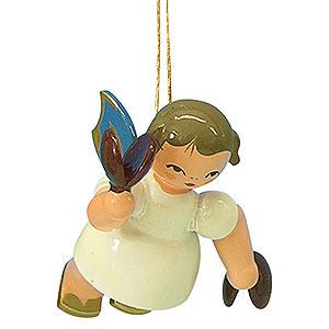 Christbaumschmuck Engel Baumbehang Schwebeengel - blaue Flügel Christbaumschmuck Engel mit Kastagnetten - Blaue Flügel - schwebend - 5,5cm