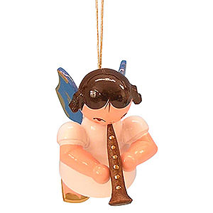 Christbaumschmuck Engel Baumbehang Schwebeengel - blaue Flügel Christbaumschmuck Engel mit Klarinette - Blaue Flügel - schwebend - 5,5 cm