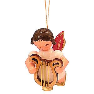 Christbaumschmuck Engel Baumbehang Schwebeengel - rote Flügel Christbaumschmuck Engel mit Leier - Rote Flügel - schwebend - 5,5 cm