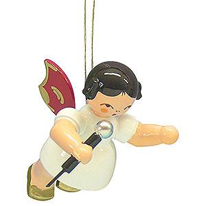Christbaumschmuck Engel Baumbehang Schwebeengel - rote Flügel Christbaumschmuck Engel mit Mikrofon - Rote Flügel - schwebend - 5,5 cm