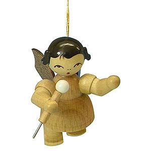 Christbaumschmuck Engel Baumbehang Schwebeengel - natur Christbaumschmuck Engel mit Mikrofon - natur - schwebend - 5,5 cm