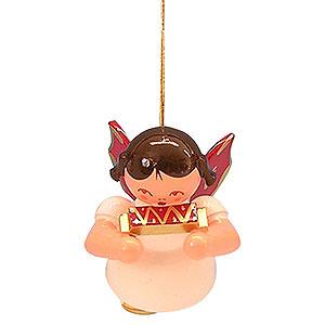 Christbaumschmuck Engel Baumbehang Schwebeengel - rote Flügel Christbaumschmuck Engel mit Mundharmonika - Rote Flügel - schwebend - 5,5cm