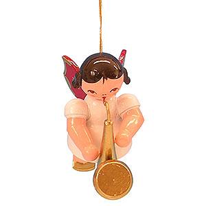 Christbaumschmuck Engel Baumbehang Schwebeengel - rote Flügel Christbaumschmuck Engel mit Saxophon - Rote Flügel - schwebend - 5,5cm
