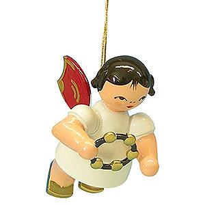 Christbaumschmuck Engel Baumbehang Schwebeengel - rote Flügel Christbaumschmuck Engel mit Schellenring - Rote Flügel - schwebend - 5,5 cm