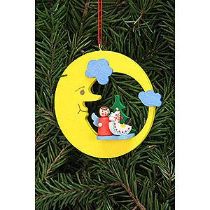 Christbaumschmuck Spielzeug-Design Christbaumschmuck Engel mit Spielzeug im Mond - 8,3x7,9cm