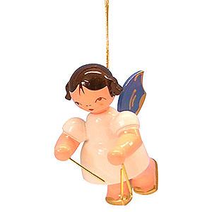Weihnachtsengel Engel Baumbehang Schwebeengel - blaue Flügel Christbaumschmuck Engel mit Triangel - Blaue Flügel - schwebend - 5,5cm