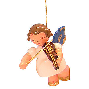Christbaumschmuck Engel Baumbehang Schwebeengel - blaue Flügel Christbaumschmuck Engel mit Violine - Blaue Flügel - schwebend - 5,5cm