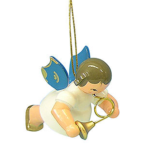 Christbaumschmuck Engel Baumbehang Schwebeengel - blaue Flügel Christbaumschmuck Engel mit Waldhorn - Blaue Flügel - schwebend - 5,5cm