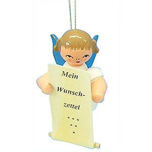 Christbaumschmuck Engel Baumbehang Schwebeengel - blaue Flügel Christbaumschmuck Engel mit Wunschzettel - Blaue Flügel - schwebend - 6 cm