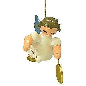 Christbaumschmuck Engel Baumbehang Schwebeengel - blaue Flügel Christbaumschmuck Engel mit kleinem Gong - Blaue Flügel - schwebend - 5,5cm
