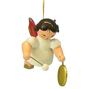 Christbaumschmuck Engel Baumbehang Schwebeengel - rote Flügel Christbaumschmuck Engel mit kleinem Gong - Rote Flügel - schwebend - 5,5 cm