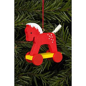 Christbaumschmuck Spielzeug-Design Christbaumschmuck Fahrpferdchen rot - 4,4 x 8,4 cm