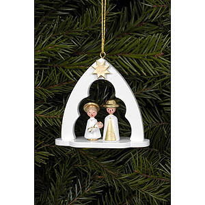 Christbaumschmuck Sonstiger Baumschmuck Christbaumschmuck Heilige Familie im Bogen weiss - 6,5 x 6,2cm