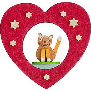 Christbaumschmuck Sonstiger Baumschmuck Christbaumschmuck Herz mit Katze - 7 cm