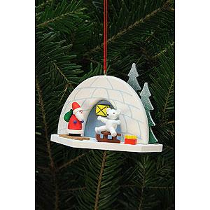 Christbaumschmuck Weihnachtsmann Christbaumschmuck Iglu mit Eisbär - 9,2x7,0 cm