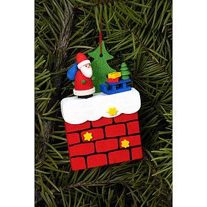 Christbaumschmuck Weihnachtsmann Christbaumschmuck Kamin mit Weihnachtsmann - 4,8x7,6 cm
