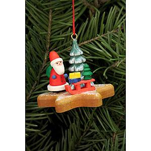 Christbaumschmuck Weihnachtsmann Christbaumschmuck - Nikolaus auf Lebkuchenstern - 5,2 x 4,1cm