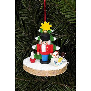 Christbaumschmuck Weihnachten Christbaumschmuck Nussknacker auf Baumscheibe - 5,1 x 5,1cm