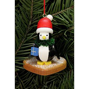 Christbaumschmuck Lebkuchen-Design Christbaumschmuck - Pinguin auf Lebkuchenherz - 5,0 x 6,0cm