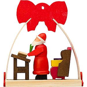 Christbaumschmuck Weihnachtsmann Christbaumschmuck Schleife Weihnachtsmann mit Wunschzetteln - 7 cm