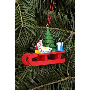 Christbaumschmuck Weihnachten Christbaumschmuck Schlitten mit Spielzeug - 5,2x4,6 cm