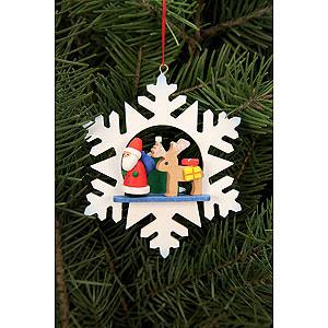 Christbaumschmuck Weihnachtsmann Christbaumschmuck - Schneeflocke Weihnachtsmann mit Rentier - 9,0 x 9,0cm