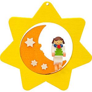 Christbaumschmuck Mond & Sterne Christbaumschmuck Sternen-Mond-Engel mit Baum - 8 cm