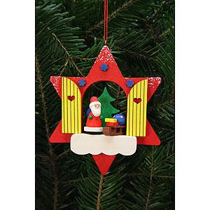 Christbaumschmuck Weihnachtsmann Christbaumschmuck Sternfenster mit Niko - 9,5x9,5cm