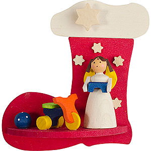 Christbaumschmuck Spielzeug-Design Christbaumschmuck Stiefel-Engel mit Dreirad - 7 cm