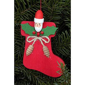 Christbaumschmuck Weihnachtsmann Christbaumschmuck Stiefel mit Nikogesicht - 6,2 x9,4cm