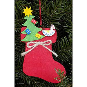 Christbaumschmuck Weihnachten Christbaumschmuck Stiefel mit Weihnachtsbaum - 6,2 x 11,6cm