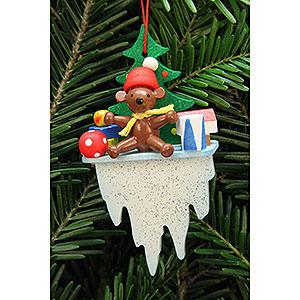 Christbaumschmuck Spielzeug-Design Christbaumschmuck Teddy auf Eiszapfen - 4,5x8,8 cm
